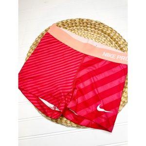 Nike Pro Womens Dri- Fit Shorts 3 inch Red Stripe